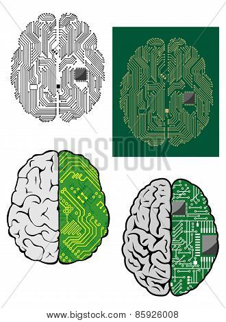 Human brain with computer motherboard
