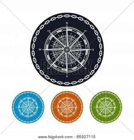 Icon Compass Rose,  Vector Illustration