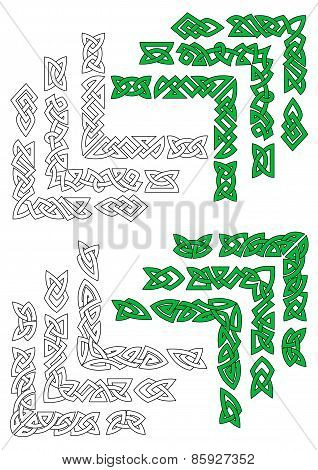Green and outline celtic frame borders