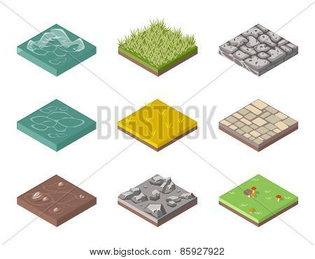 Ground surfaces. Grass, rocks and water