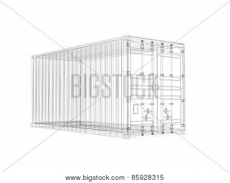 Cargo Container, Digital Wireframe View Isolated On White