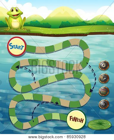 Puzzle game template with frog and river