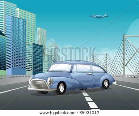 Classic car on the highway with city view