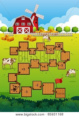 Boadgame template with farm scene and barn