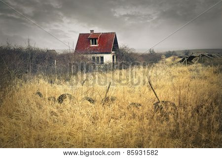 House in a grain field