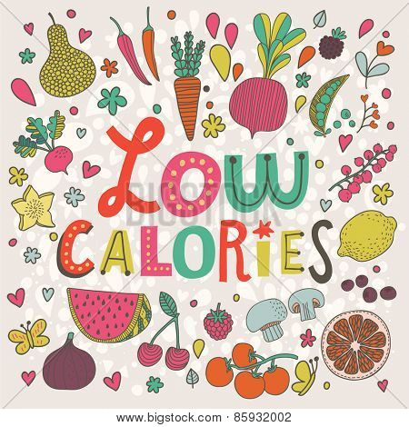 Lovely low calories concept card in vector. Tasty pear, cherry, pomegranate, orange, mango, watermelon, lemon, apple, red currant, raspberry, fig, blueberry and carambola in funny cartoon style