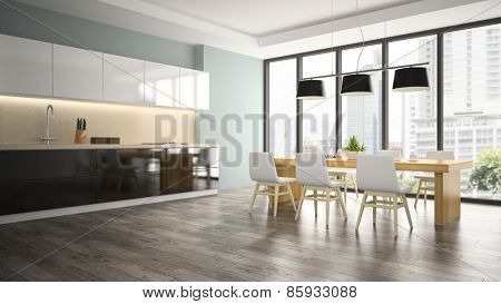 Part of interior dining room 3D rendering
