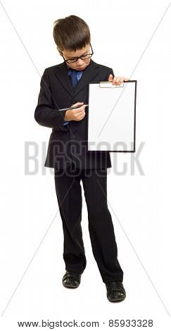 boy in suit show blank sheet clipboard