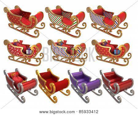 Santa Sleigh Set 3D