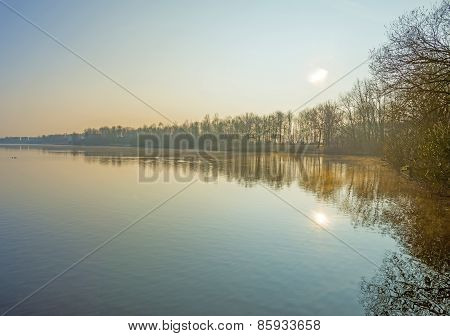 The shore of a lake in winter at dawn