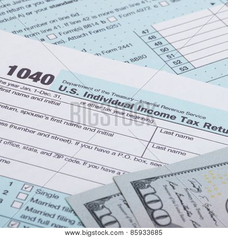 Us 1040 Tax Form And Dollars