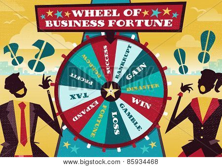 Business People Play The Business Wheel Of Fortune.