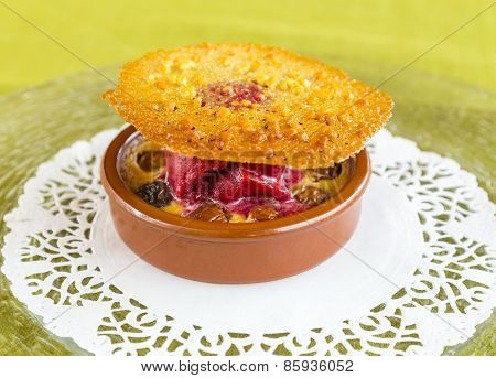 Gourmet Dessert With Brandy Snap, Raspberry Sorbet, Raisins And