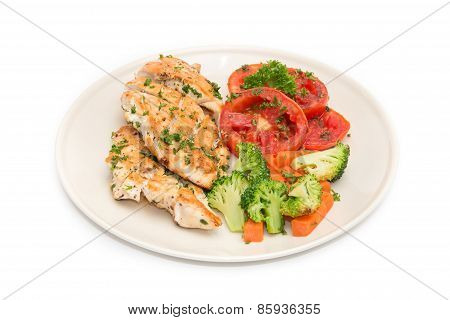 Diet Food, Clean Eating, Chicken Steak With Grilled Vegetables