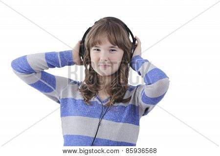 Girl with headphones at disco