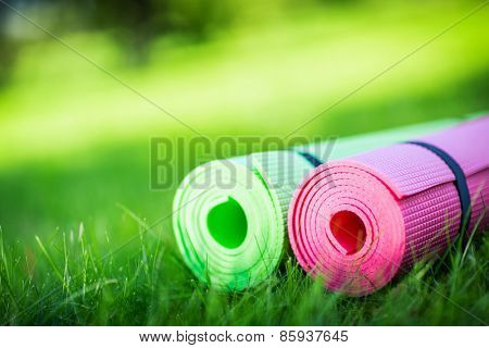 Gymnastic mats on the grass