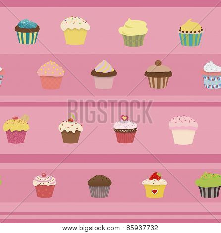 Seamless Illustrated  Cupcakes