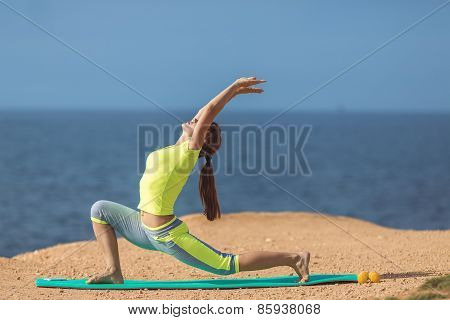 Yoga practice. Surya Namaskara movements sequence