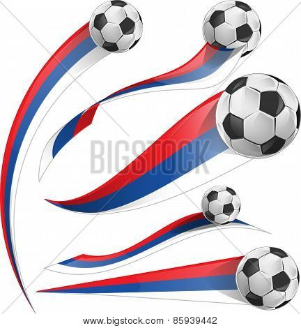 Russian Flag Set With Soccer Ball