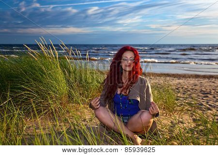 Young Woman On Seacoast