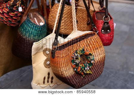 GRASSE, FRANCE - JULY 5,2014. Handmade Women Bags Sold At The Market. Street Shopping For Handbags