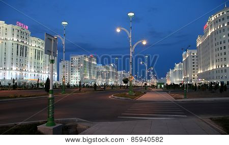 Ashgabad, Turkmenistan - October, 10 2014: Night View Of The New Boulevard In October, 10 2014. Ashk
