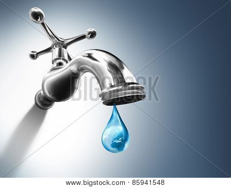 Planet in water drop - water conservation concept - Europe