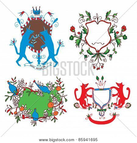 Coat of arms set - funny drawings design