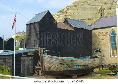 Fisherman Huts At Hastings, England