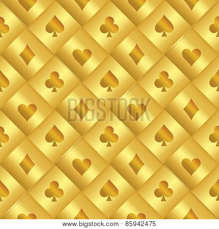 Golden Seamless Pattern With Poker Card Black And Red Symbols