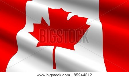 Canadian flag background. Computer generated 3D photo rendering.