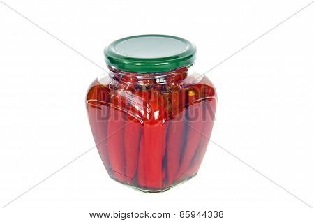 Ecological Red Hot Chilli Pepper Paprika Preserved Canned In Glass Pot