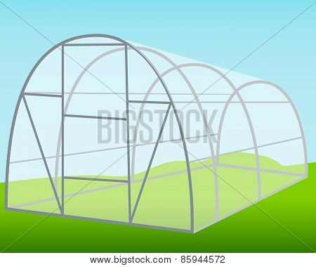The greenhouse on the background of blue sky. Vector illustration