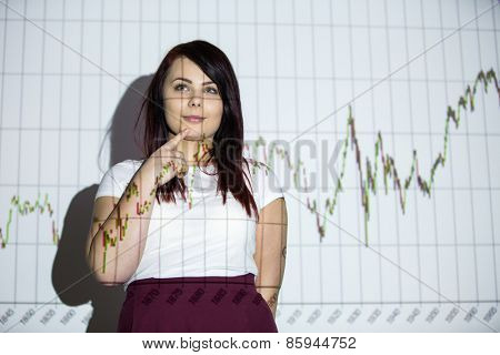 Is the market going to go up or down? To buy or to sell? - Young woman with a graph projection, thinking about her next step as an investor. Should she sell or buy?