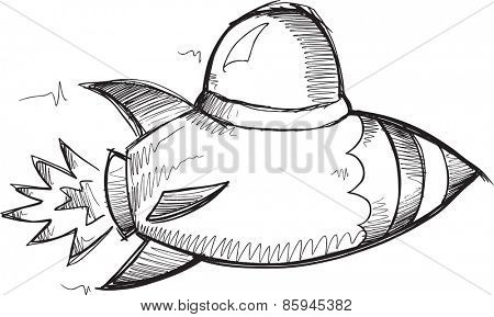 Doodle Sketch Rocket fighter Vector Illustration Art