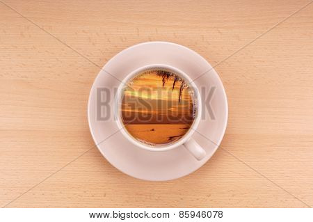 sunset in a cup of coffee