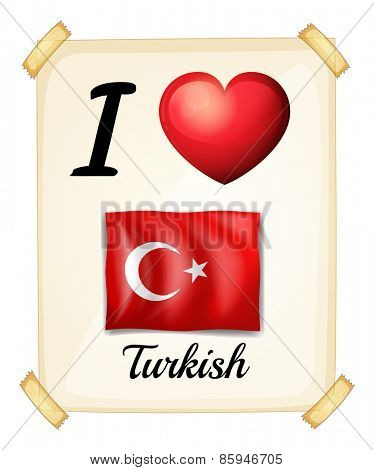 Poster of I love Turkish on the wall