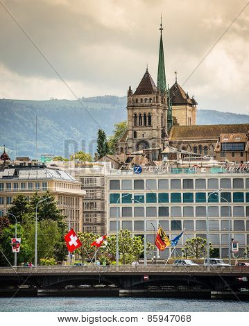 Geneve, Switzerland - 11 May 2014:  view of the modern embankment and the center of Geneva, Switzerland
