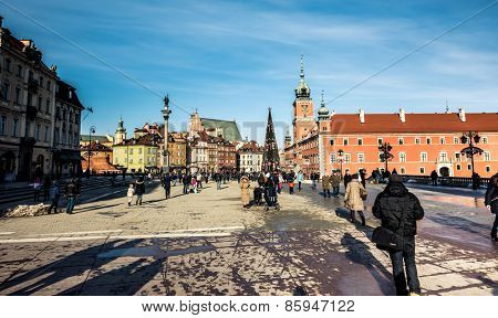 Warsaw, Poland - Fabruary 01, 2015: Castle Square with king's Sigismund's Column in Warsaw, Poland
