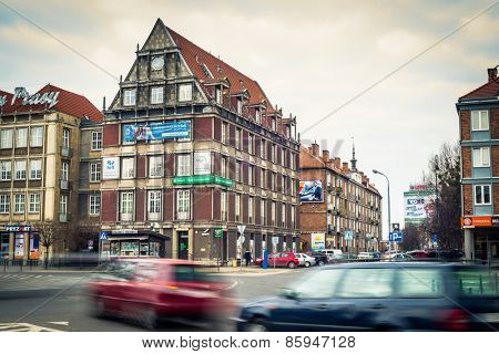 Gdansk, Poland - March 14, 2014: People walking on streets in historical center of Gdansk city, Poland
