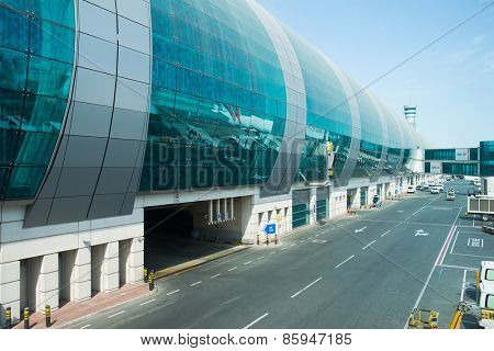 DUBAI, UAE - MAY 16: Dubai International Airport building. Dubai International Airport is an international airport serving Dubai. It is a major airline hub in the Middle East