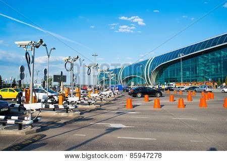 MOSCOW, RUSSIA - MAY 15, 2014: Domodedovo airport building. Domodedovo International Airport is one of the three major airports that serve Moscow