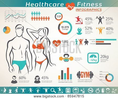 Fitness And Wellness Infographcs, Active  People Icons Set