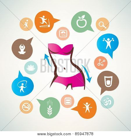 Fitness And Body Care Infographics, Icons Collection, Slim Waist, Active Woman Concept