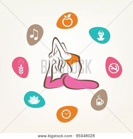 Healthcare And Fitness Infographics, Harmonic Life Style, Yoga Pose