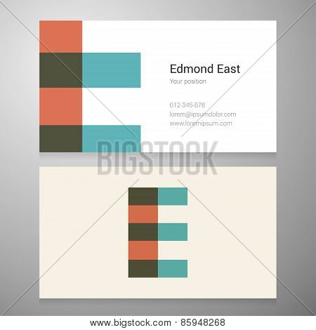 Vintage Letter E Icon Business Card Template