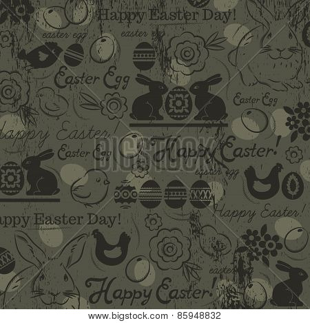 Background With Bunny, Easter Eggs, Flower, Chicks, Hen And Greetings Text Happy Easter. Easter Card