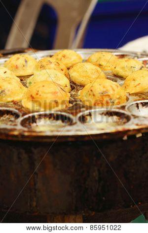 Takoyaki In The Oven At The Market