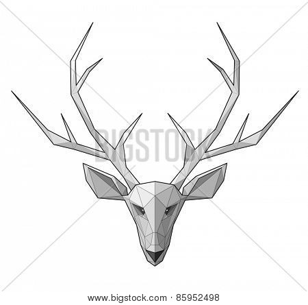 Horned deer. Low polygon linear vector illustration