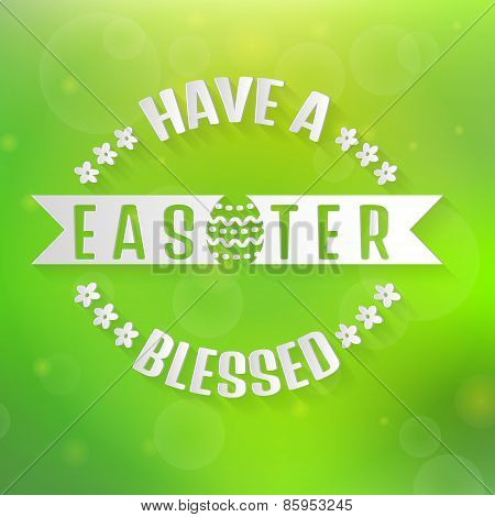Vector Easter Card With Blurred Background.